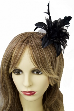 Black Flower & Feather Comb Fascinator