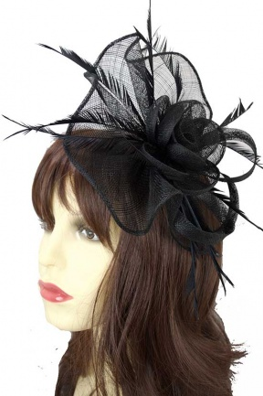 Large Black Sinamay Clip & Hairband Fascinator