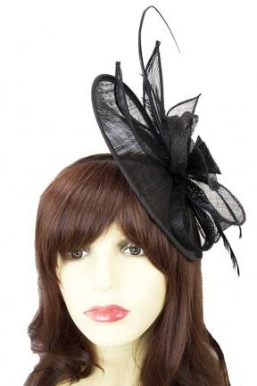 Black Hat Fascinator with Clip & Hairband