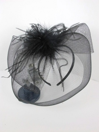 Black Mesh Bow and Veil Fascinator with Feathers on Aliceband