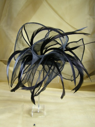 Black Organza and Feather Comb Fascinator
