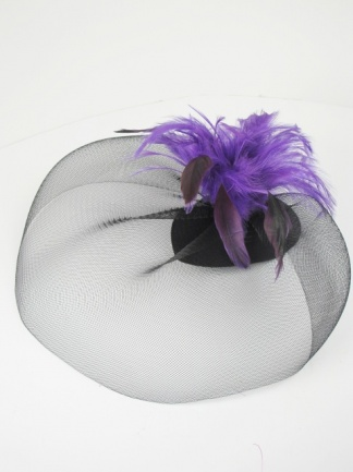 Blackand Purple Crinoline Veil Clip Fascinator