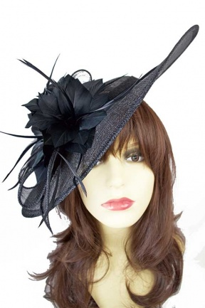 Large Black Saucer Hat with Hairband