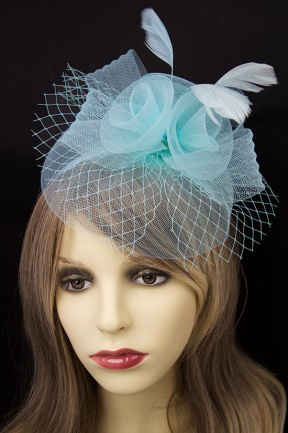 Blue Crinoline Hairband Fascinator with Veil & Feathers