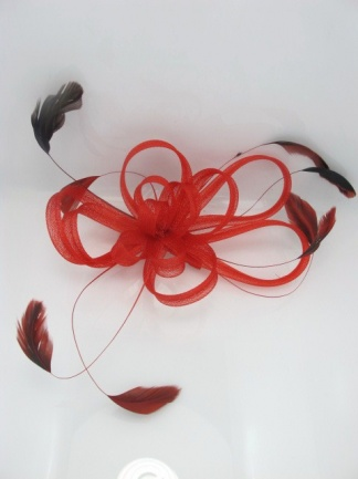 Bright Red Looped Mesh Comb Fascinator with Feathers
