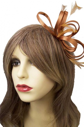 Bronze Satin Loop & Feather Comb Fascinator