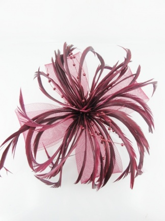 Burgundy Feather and Mesh Bow Clip Fascinator
