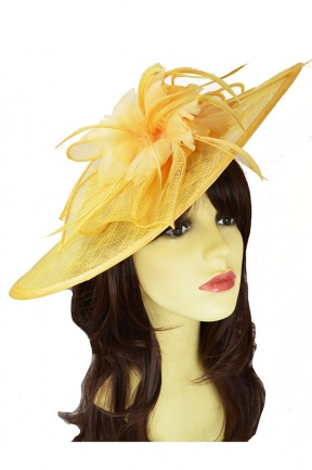 Large Buttercup Yellow Saucer Hat with Hairband