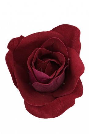 Claret Red Velvet Textured Rose Hair Clip