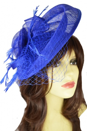 Large Cobalt Blue Occasion Hat with Feathers & Veil