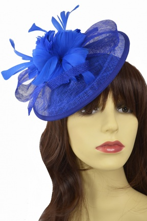Cobalt Blue Hat Fascinator with Hairband & Clip