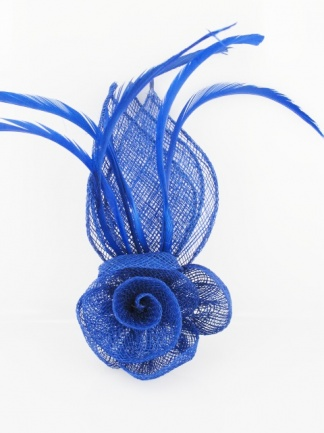 Cobalt Blue Budget Sinamay and Feather Fascinator