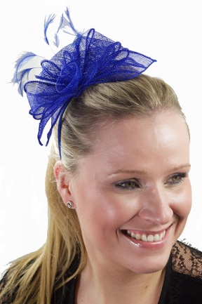 Cobalt Blue Flower  & Feather  Hairband Fascinator