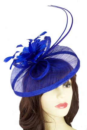 Cobalt Blue Hat Fascinator with Flower & Quills