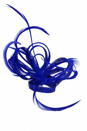 Cobalt Blue Sinamay Loop & Feather Clip Fascinator