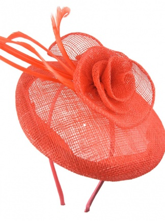 Coral Sinamay Base & Feather Hairband Fascinator