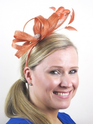 Terracotta Looped Fascinator with Crystal Detail & Headband