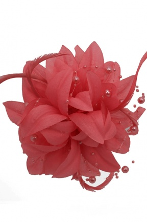 Coral Flower, Feather and Bead Clip Fascinator