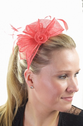 Coral Sinamay & Feather Hairband Fascinator