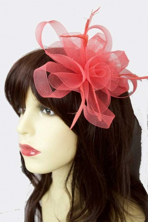 Watermelon Coral Mesh Bow & Feather Comb Fascinator