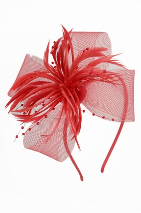 Coral Bow, Feather & Bead Aliceband Fascinator
