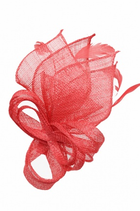 Pretty Coral Bow & Feather Comb Fascinator