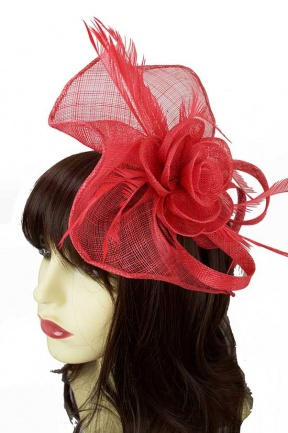 Coral Sinamay Hairband & Clip Large Fascinator