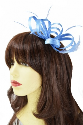 Cornflour Blue Satin Loop & Feather Comb Fascinator