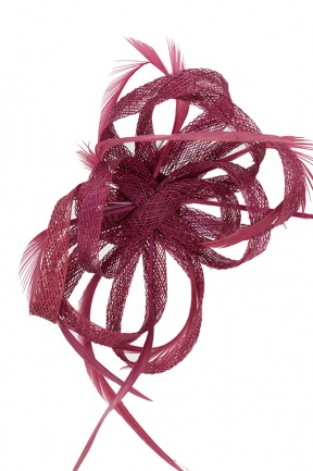 Cranberry Pink Looped Sinamay Clip Fascinator