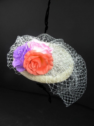Ivory & Multicolour Flower Birdcage Veil Fascinator