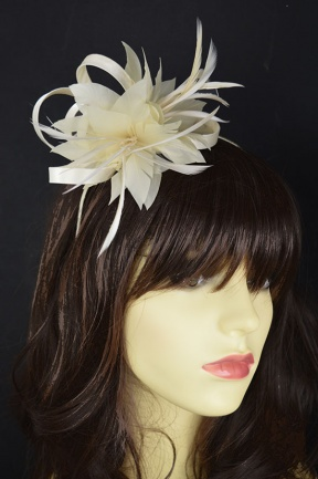 Cream Satin Loop & Feather Flower Hairband Fascinator