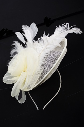 Cream Hat Fascinator with Hairband