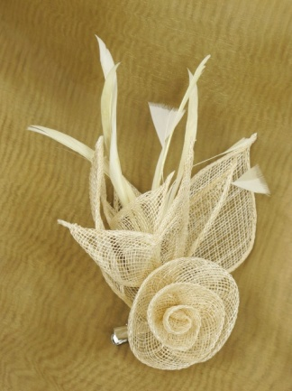 Cream Sinamay and Feather Budget Fascinator