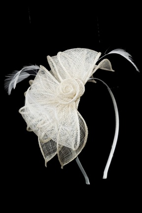 Cream Sinamay & Feather Flower Hairband Fascinator