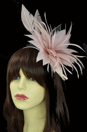 Dusky Pink Feather Flower & Quill Hairband & Clip Fascinator