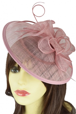 Dusky Pink Saucer Hat Fascinator with Hairband & Clip