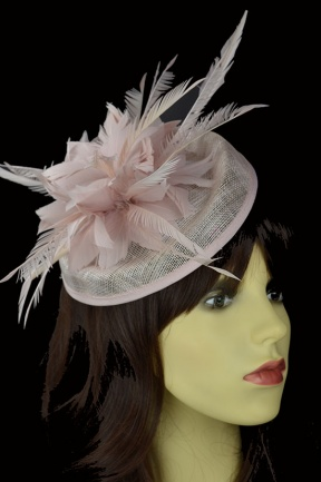Pale Dusky Pink Hat Fascinator with Hairband & Clip