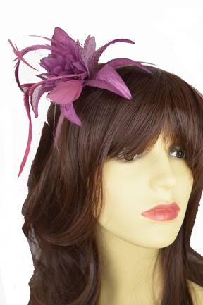 Dusky Purple/Pink Flower Hairband Fascinator
