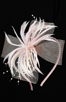 Dusky Pink Mesh Bow & Feather Aliceband Fascinator