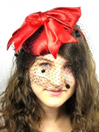 Red Bow Satin Pill Box Hat Fascinator with Black Birdcage Veil