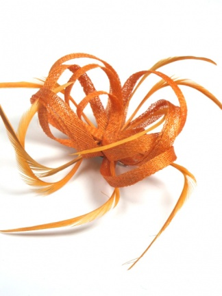 Orange Sinamay Loop and Feather Clip Fascinator