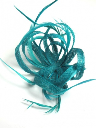 Teal Sinamay Loop and Feather Clip Fascinator