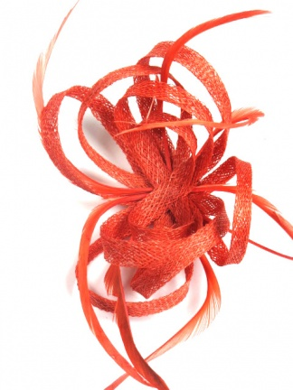 Coral Sinamay Loop and Feather Clip Fascinator