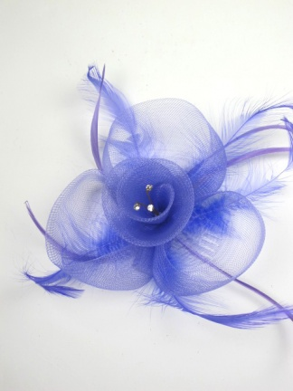 Light Purple Crinoline Comb Fascinator with Feathers and Crystals