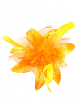 Orange Flower and Feather Clip Fasciantor with Brooch Pin