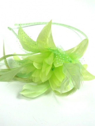 Pale Green Flower and Feather Aliceband Fascinator