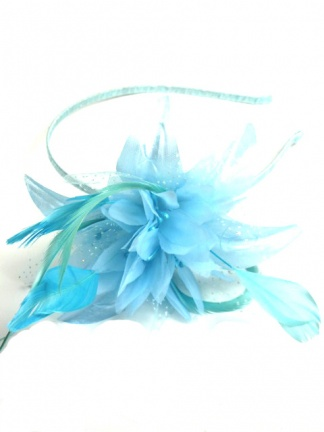 Pastel Blue Flower and Feather Hairband Fascinator