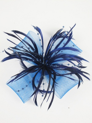 Royal Blue/Navy Bow and Feather Clip Fascinator