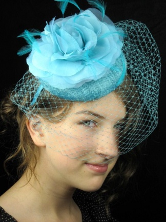 Tiffany Blue, Birdcage Veil Pill Box Hat Fascinator