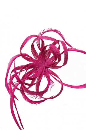 Fuchsia Pink Loop & Feather Clip Fascinator